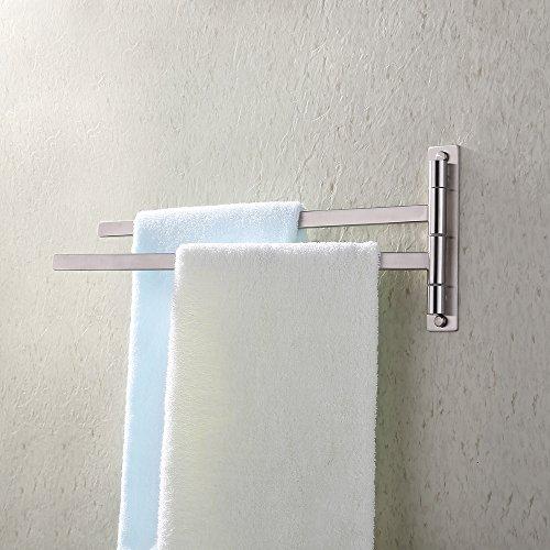 KES Bath Towel Holder Swing Hand Towel Rack SUS 304 Stainless Steel Bathroom Swivel Towel Bar 2-Bar Folding Hanger Holder RUSTPROOF Wall Mount Brushed Finish, BTH200S2-2