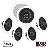 OSD Audio In-Ceiling/In-Wall Speaker Home Theater 5-Speaker Package w/ Swivel Dome Tweeter Paintable Snap-In Grill (5.25 - 5 Pack)