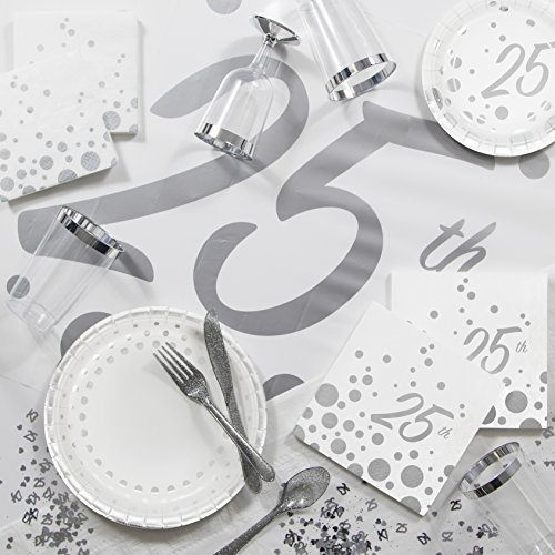 Large Sparkle and Shine Silver Deluxe 25th Anniversary Party Supplies Kit by Creative Converting