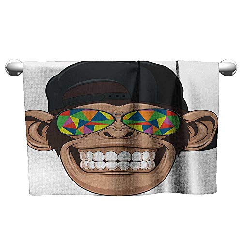 alisoso Cartoon,Wholesale Towels Fun Hipster Monkey with Colorful Sunglasses and Hat Rapper Hippie Ape Art Bath Towels for Kids Brown Black White W 10