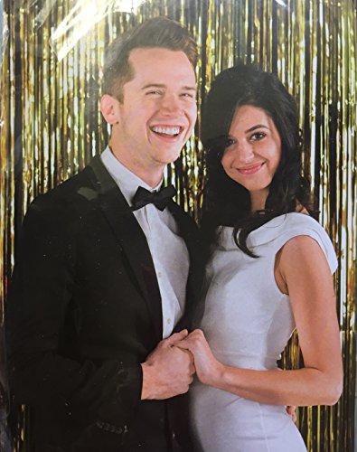 Gold Mylar Fringe Curtain Backdrop, 6x8 ft, Photo Prop, Gala, Graduation, Prom, Wedding, New Years Eve Party, Prom