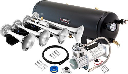 Vixen Horns Loud 149dB 4/Quad Chrome Trumpet Train Air Horn with 3 Gallon Tank and 200 PSI Compressor Full/Complete Onboard System/Kit VXO8330/4124C ()