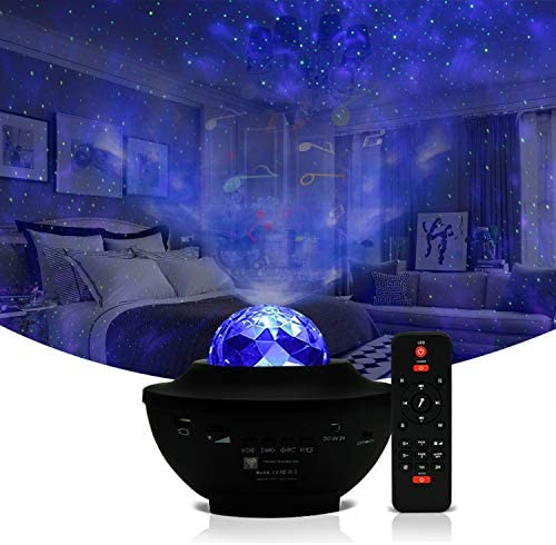 Galaxy Projector Light Ocean Wave Projector,3 in 1 Starry Night Light Projector Bedroom w LED Nebula Cloud and Bluetooth Music Speaker As Gifts Decor Birthday Party Wedding Bedroom Living