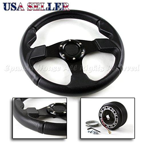 90-05 Mazda Miata MX5 USA 320mm Black Stitched Steering Wheel + Hub (Black Professional Hub)