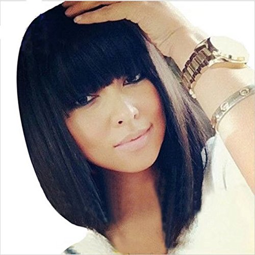 Ten Chopstics Short Bob Human Hair Full Lace Wig Full Bangs Glueless Short Brazilian Straight Human Hair Wig with Baby Hair for Black Woman 130 Density Lace front Bob Wigs with Fringe