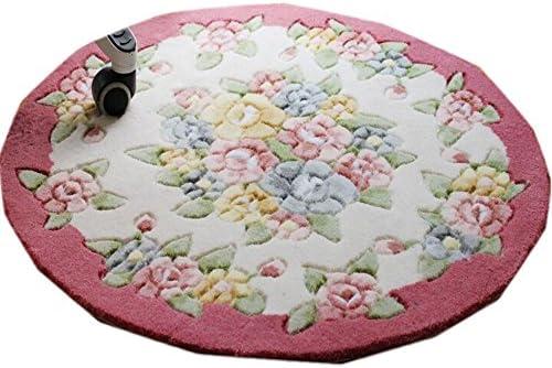 E.a market Area Rugs European Style Rose Flower Carpet Antiskid Circular Carpet Rose red
