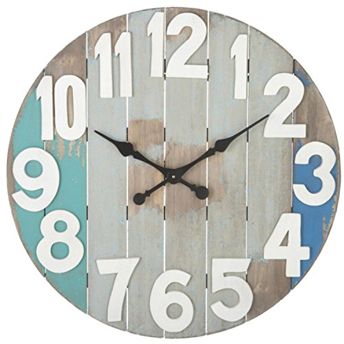 29-weathered-coastal-style-slatted-wood-wall-clock-with-aqua-and-blue-accents