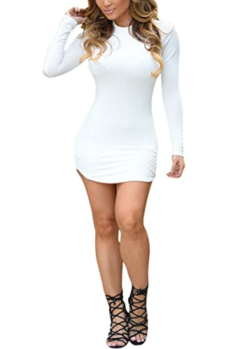 PinkWind Women's Bodycon Crewneck Long Sleeve Irregular Hem Sexy Mini Club Dress