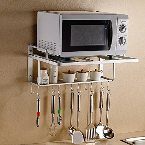 Space Aluminum Microwave Oven Wall Bracket Double Rack with Removable Hooks (L) (Small Microwave Shelf compare prices)