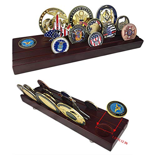 4 Rows Challenge Coin Display Military Coin Holder Wooden Stand Rack