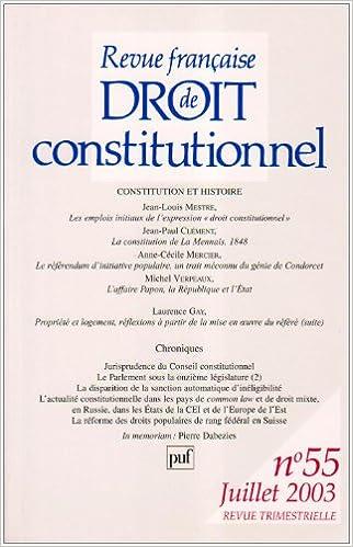 En ligne Revue française de droit constitutionnel, numéro 55 - 2003 epub pdf