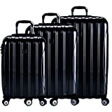 DELSEY Paris Delsey Luggage Helium Aero 3 Piece Spinner Luggage Set (Black)