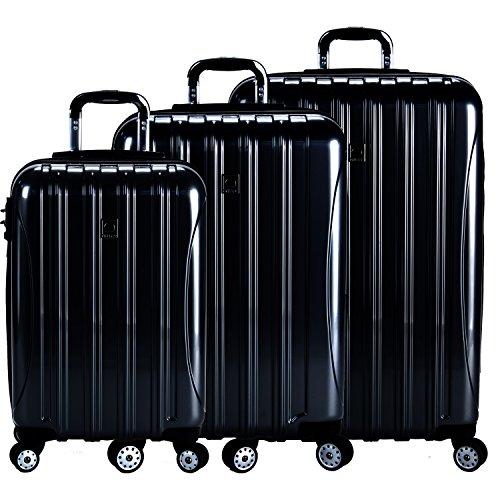 DELSEY Paris Delsey Luggage Helium Aero 3 Piece Spinner Luggage Set (Black) ()