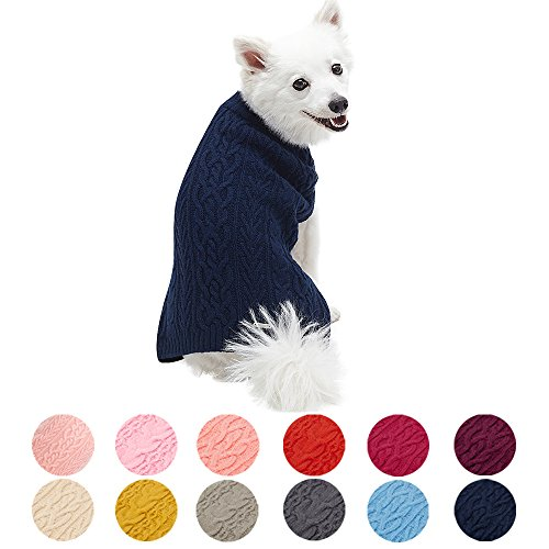 Blueberry Pet 13 Colors Classic Wool Blend Cable Knit Pullover Dog Sweater in Dress Blue - Back Length 10