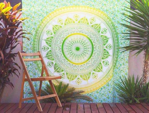 Traditional Mafia Rses T 5048 Mandala Hippie Decor Collection Bohemian Tapestry  85  X 90   Green