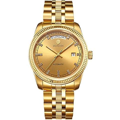 BINLUN Mens 18K Gold Luxury Watches Waterproof Datejust Diamonds Dress Watch Swiss Movement