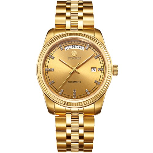 BINLUN Mens 18K Gold Luxury Watches Waterproof Datejust Diamonds Dress Watch Swiss Movement