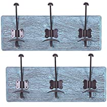 """Rustic Wall Mounted Coat Rack with 3 Sturdy Hooks – Set of 2 – Vintage Entryway Wooden Coat Racks – Rustic Rack for Coats, Bags, Towels and More – 35"""" x 6.10 Torched Wood"""