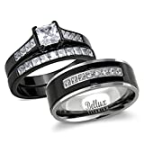 Bellux Style His and Hers Wedding Ring Sets Couples Black Stainless Steel CZ Bridal Sets (Women's Size 08 & Men's Size 09)