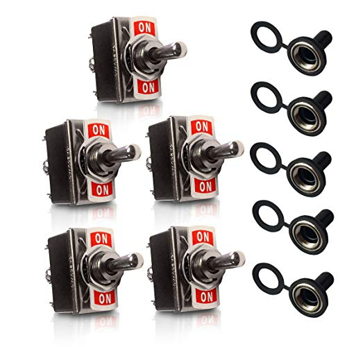(MGI SpeedWare Metal Toggle Switches with Waterproof Rubber Boot Covers (5 Pack) - 20 Amp Heavy-Duty DPDT 6-Pin ON-Off-ON)