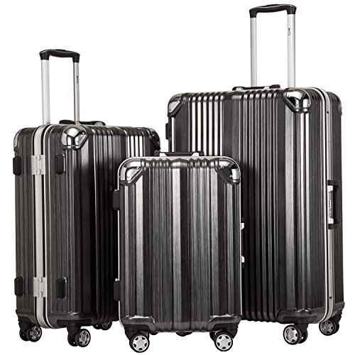 Coolife Luggage Aluminium Frame Suitcase 3 Piece Set with TSA Lock 100%PC (BLACK) by Coolife