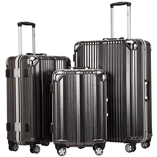 Coolife Luggage Aluminium Frame Suitcase 3 Piece Set with TSA Lock 100%PC (BLACK) by Coolife