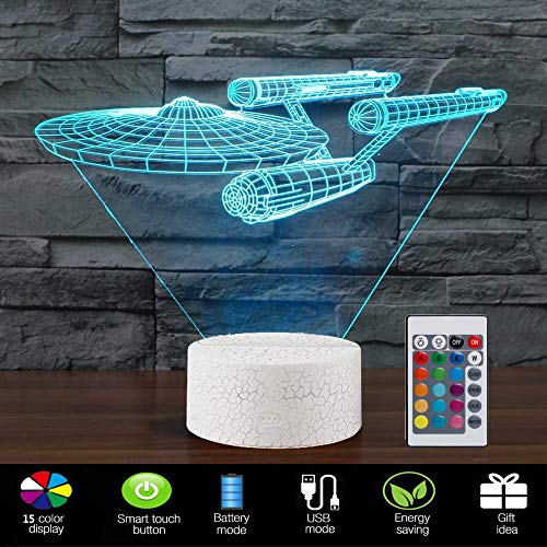 Lmeison Night Lights for Kids 3D Night Light Bedside Lamp with Smart Touch & Remote Control 15 Colors Change Room Decor Best Gift for Kids, Friends, Birthdays, Holidays(Star Trek Warships) ()