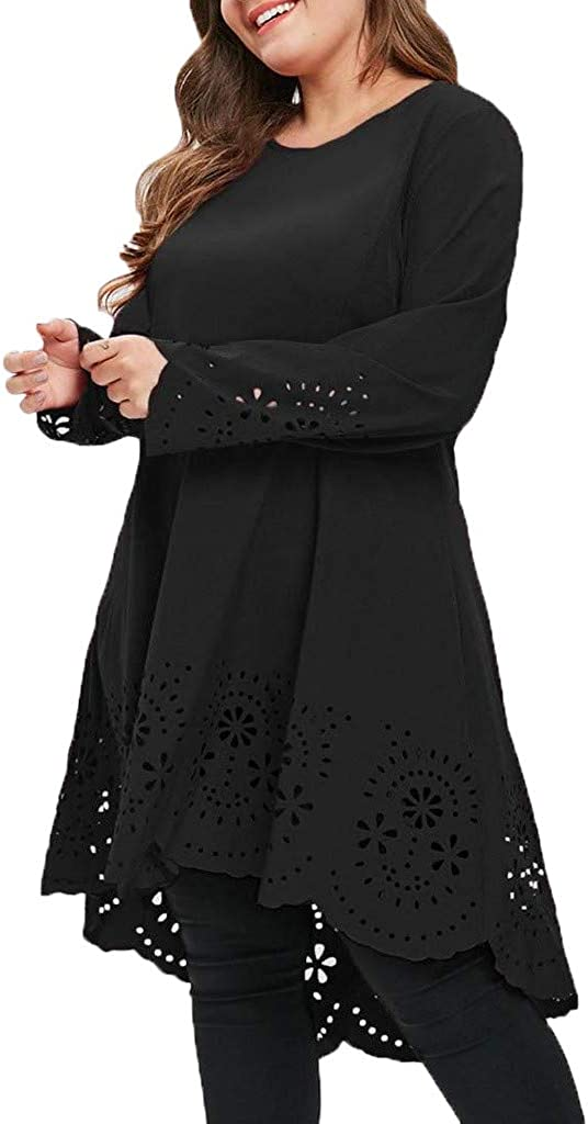 Womens Dress Plus Size Lace Patchwork Mini Dress A-line Chiffon Tunic Top Dress Winter Autumn Ladies Long Sleeve