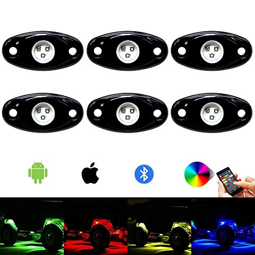 6pods RGB Led Rock Lights Kit with Bluetooth 14 DIY Color 15 Turning Modes Timing Music Mode Flashing Led Interior Light Led Neon Lights for Off Road Jeep Truck SUV UTV ATV Motorcycle (6 pods)