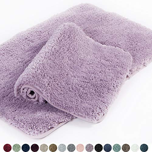 Walensee Bathroom Rug Non Slip Bath Mat for Bathroom (16 x 24, Lavender) Water Absorbent Soft Microfiber Shaggy Bathroom Mat Machine Washable Bath Rug for Bathroom Thick Plush Rugs for Shower
