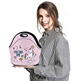 Lunch Bags for Women Men Unicorn Lunch Bag Lunch Tote - Neoprene Insulated Bento Cute Pink Lunch Bag Lunch Boxes for Kids – Large Reusable Picnic Lunch Containers for Girls Boys Work with Zipper