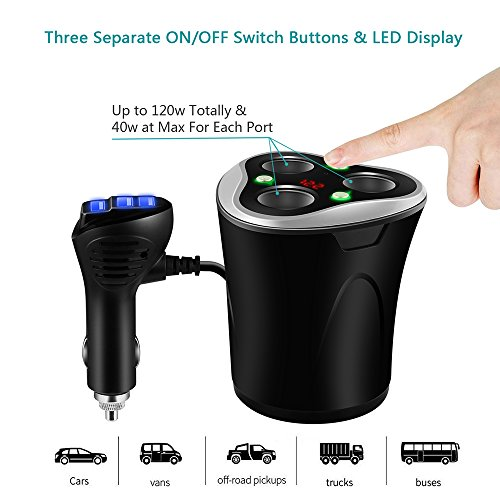 Skyocean 3 Socket Cigarette Lighter Splitter + 3 USB Car Charger Adapter Cupped Plug 12V/24V 120W DC Power Outlet with On/Off Switch for iPhone X 8 7 6 plus Android Mobile Phone & Dash Cam (Black) by Skyocean (Image #4)