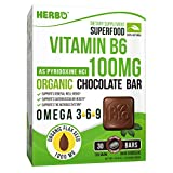 Herbo Superfood Vitamin B6 100 mg As Pyridoxine - Supplement in Organic Dark Chocolate - Best for Depression, Concentration, Immunity and Heart Health - with Omega 3 6 9 - Non-GMO, Gluten Free