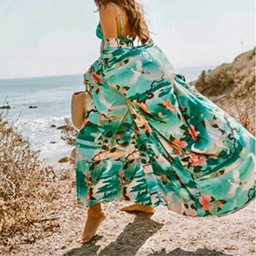 CHZDNSCS Chemise Été Multicolore Vacances Plage Bohémien Imprimé Floral Demi-Manche Long Kimono Cardigan Été Femmes Casual Long Blouse Top B