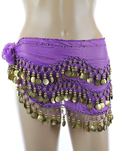 Plus Size Belly Dancing Hip Scarf - Dark Purple/Gold
