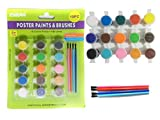 19PC Poster Paint & Brushes Set Includes 15 paints & 4 brushes! , Case of 96