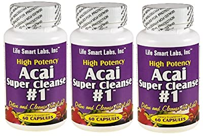 ACAI SUPER CLEANSE #1 TM (3 Bottles) HIGHLY POTENT 180 capsules ANTIOXIDANT, Detox, Colon Cleanse, Weight Loss