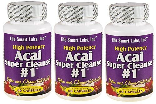 ACAI SUPER CLEANSE # 1 TM (3 bouteilles) très puissant 180 capsules antioxydantes, Detox, Colon Cleanse, la perte de poids