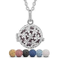 Aroma Daisy Lava Stone Aromatherapy Essential Oil Diffuser Necklace Pendant, 24 + 7PCS Rocks