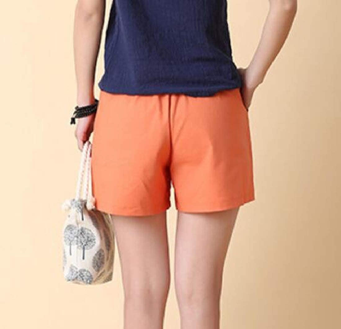 Abetteric Womens Casual Mid-Rise Solid Short Color Walking Summer Shorts