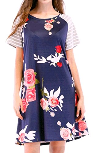 Casual Party Loose Raglan Pattern1 Women Mini Sleeves Dress Neck O Short Oversized Sleeve Coolred ZzUTAfq