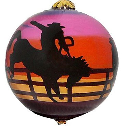 Rodeo Christmas Ornament (Rodeo at Sunset Reverse Painted Glass Christmas Ornament Southwest Cowboy)