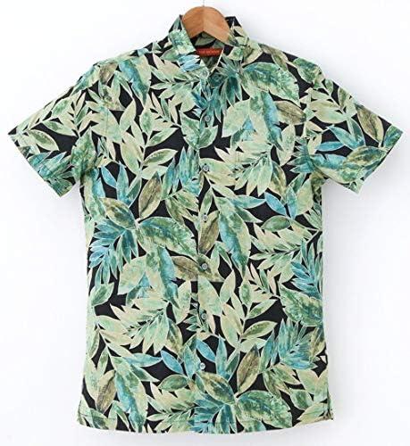 アロハシャツ メンズ TORI RICHARD ブラック地/グリーン葉柄 フルボタンタイプ/コットン