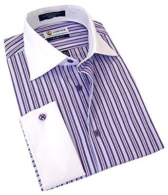 Labiyeur Men's Slim Fit Spread Collar French Cuff Long Sleeve Formal Dress Shirt
