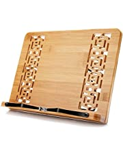 XL Large Size Bamboo Book Stand Cookbook Holder Reading Desk Bookrest with 5 Adjustable Height, Foldable Tray and Page Paper Clip Portable Sturdy Bookstands for Textbook, Magazine, Music Books, Recipe