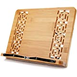 XL Large Size Bamboo Book Stand Cookbook Holder Reading Desk Bookrest with 5 Adjustable Height, Foldable Tray and Page Paper