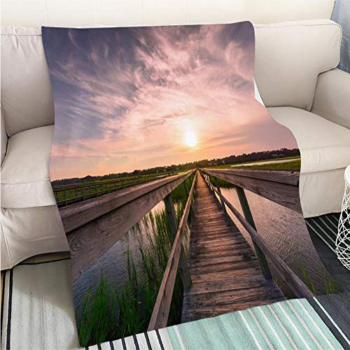 BEICICI Customized Comfortable 100% Soft Premium Blanket Boardwalk Over a Salt Marsh at Sunset Sofa Bed or Bed 3D Printing Cool Quilt