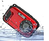 GordVE-PowerLead BP88 Camera Waterproof Digital Video Camera 2.7'' TFT Screen 5mp Underwater 9 Mega 8x Zoom Digital Camera-Red