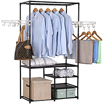 WOLTU 6 Tiers Shelves Heavy Duty Garment Rack Closet Shoe Storage With 4  Hanging Hooks Organizer