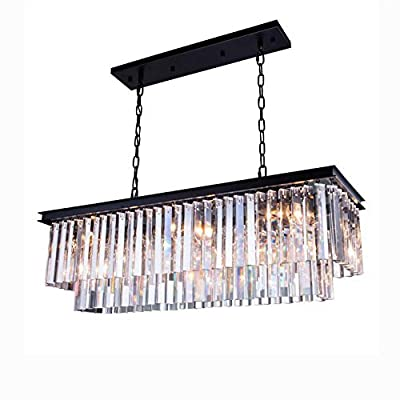 "7PM Modern Crystal Chandelier Rectangular Pendant Lighting Black Finish Light Fixture for Dining Room Kitchen Over Table - UNIQUE DESIGN: This is an elegant K9 crystal chandelier lighting. Contemporary and luxurious, the two layers of faceted rectangular crystals cascade down a black stainless steel frame giving this modern rectangular chandelier a sophisticated air. DIMENSION: Length 32"" (80CM) x Width 10"" (25CM) x Height 10"" (25CM); The hanging chain is adjustable, length is 59""(150CM) max. BULB REQUIREMENTS: 4 x E12, max 40W each (bulbs not included). Works with incandescent, LED, CFL, halogen or color changing bulbs. Fully dimmable when used with dimmable bulbs and a compatible dimmer switch (not included). - kitchen-dining-room-decor, kitchen-dining-room, chandeliers-lighting - 51r20Fb0GSL. SS400  -"